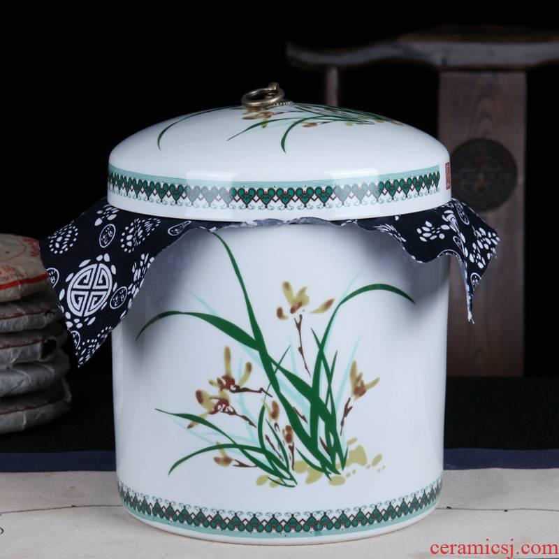Jingdezhen ceramic cake tea cake, the seventh, peulthai the large tea caddy fixings household box seal pot