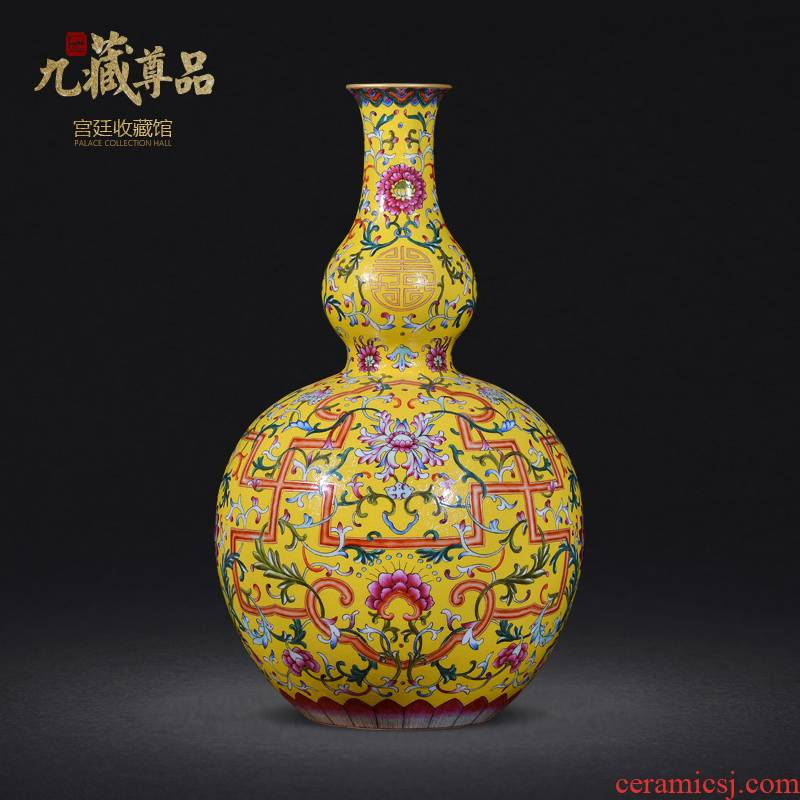 Jingdezhen ceramics imitation the qing qianlong yellow scramble for see live big flower vase sitting room home furnishing articles