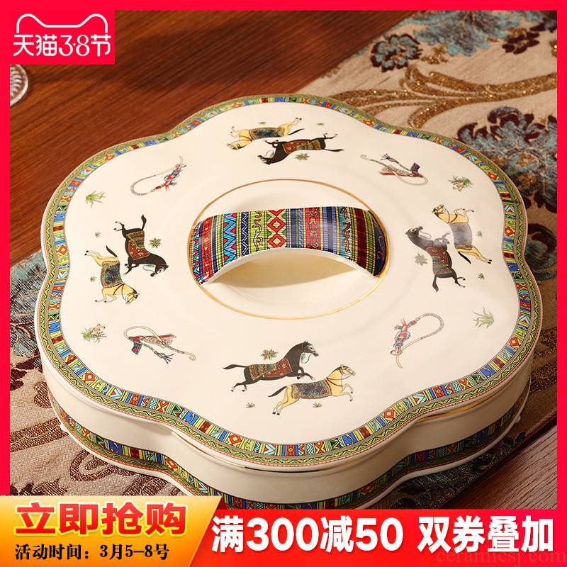 The New snack plate key-2 luxury European - style dry fruit tray frame with cover household ceramics candy dishes sitting room tea table furnishing articles