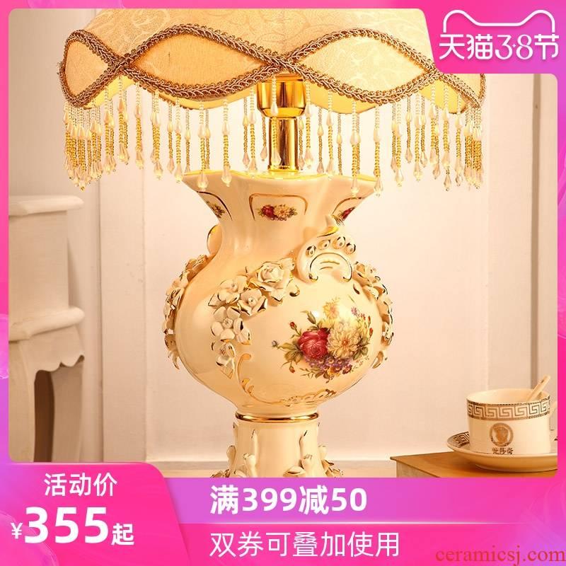 Vatican Sally, European - style key-2 luxury bedroom berth lamp creative sweet retro ceramic I I the lamp lighting