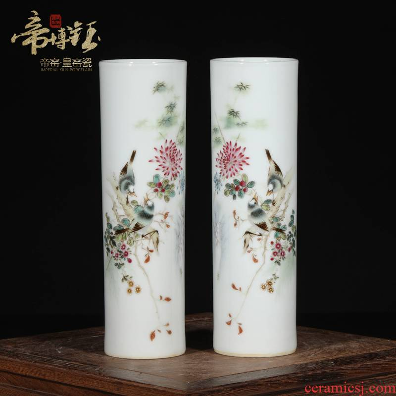 Small antique hand - made jingdezhen ceramics powder enamel brush pot four antique furnishing articles antique ornaments