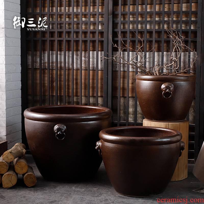 Landing place courtyard garden tank big flowerpot jingdezhen ceramic Chinese mythology VAT aquarium lotus