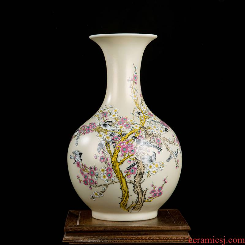 Jingdezhen ceramics vase home sitting room handicraft wine porch decoration of new Chinese style office furnishing articles