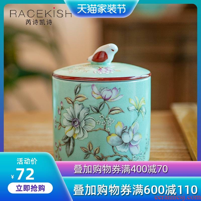 American receive a jar of new Chinese style ceramic famille rose the receive storage tank sitting room tea table desktop furnishing articles home decoration
