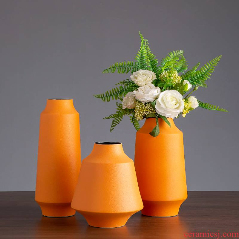Morandi color ceramic vase furnishing articles Nordic TV ark, wine household contracted dry flower arranging flowers sitting room decorations