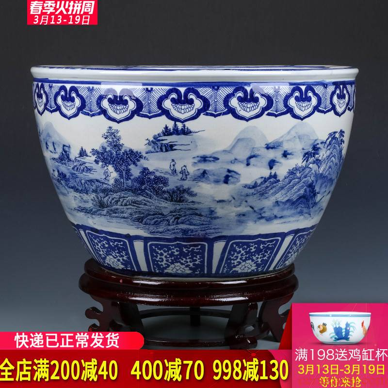Blue and white porcelain of jingdezhen ceramics goldfish bowl is suing garden landscape ground large water lily lotus feng shui furnishing articles