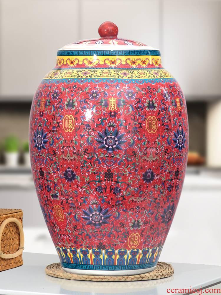 Jingdezhen ceramic barrel ricer box 20 jins 30 jins 50 kg pack household with cover moistureproof cylinder tank rice storage tank