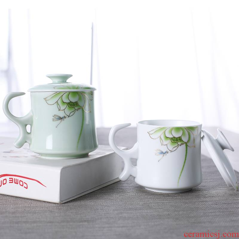 Ceramic filter cups tea cup office cup home mark cup with cover spoon separation glass tea cup customization