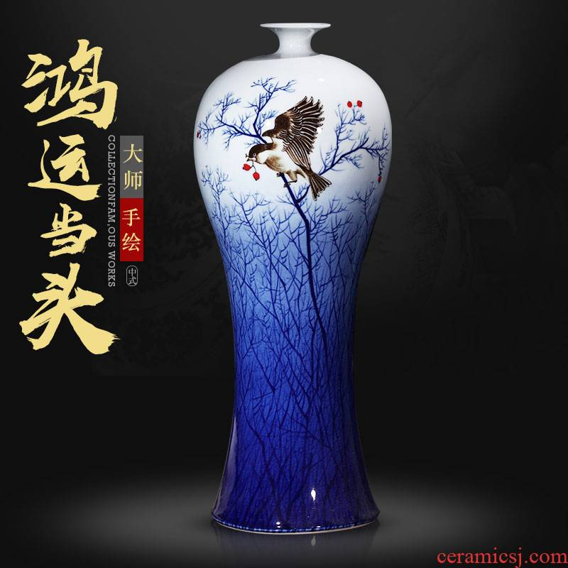 Jingdezhen master hand made blue and white porcelain vase furnishing articles sitting room porch decoration decoration of Chinese style household large arranging flowers