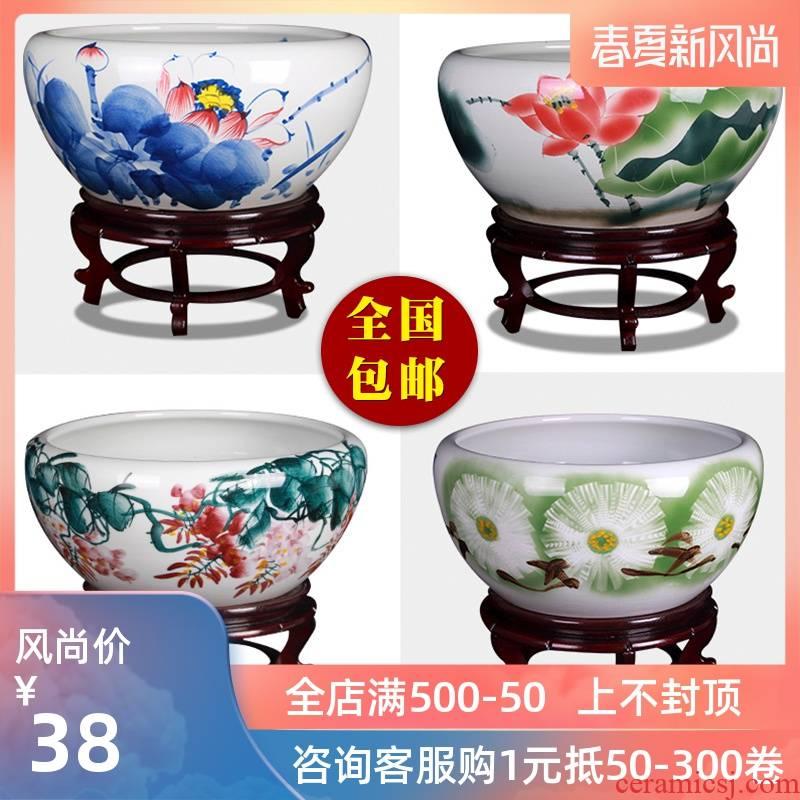 Jingdezhen ceramic aquarium goldfish bowl lotus cylinder tortoise fish lotus big sitting room aquarium goldfish bowl