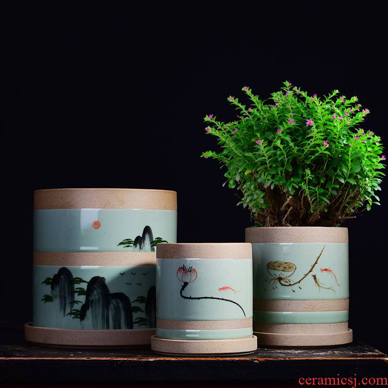 Celadon hand - made ceramic large clearance of household bracketplant rich tree the plants potted meat meat meat more money plant orchid pot