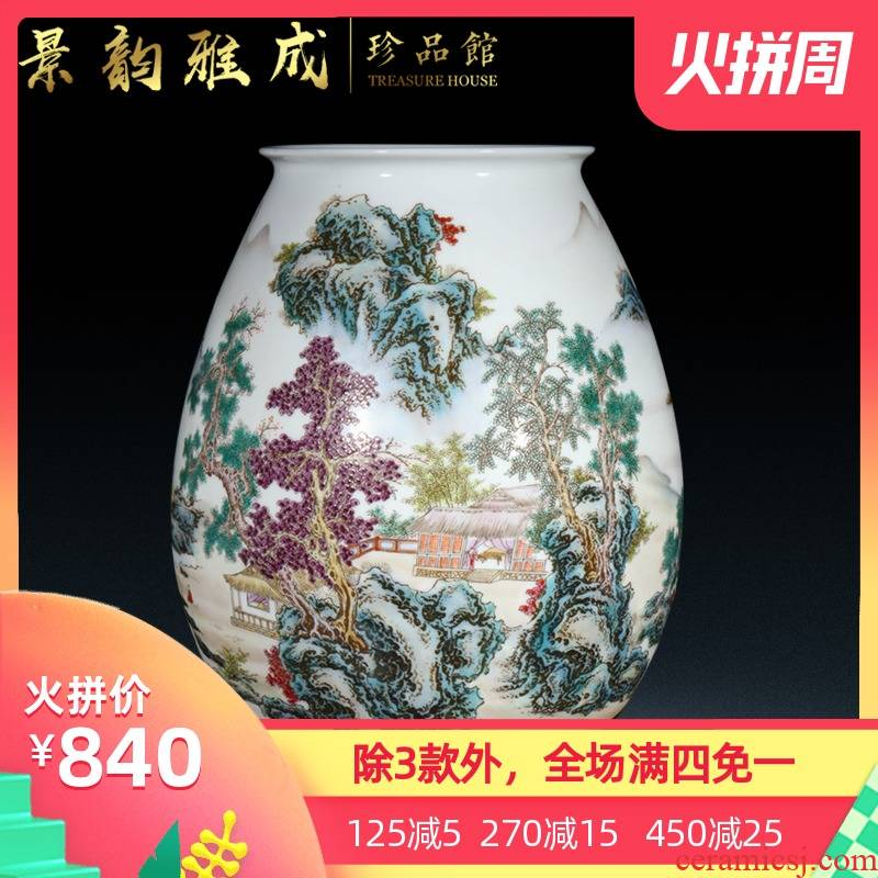 Jingdezhen ceramic new Chinese style household flower vase sitting room adornment is placed I and contracted desktop craft porcelain