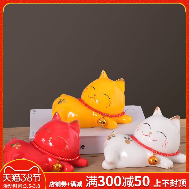 Home wine sitting room adornment is placed in plutus cat ceramics handicraft I and contracted soft children room decoration