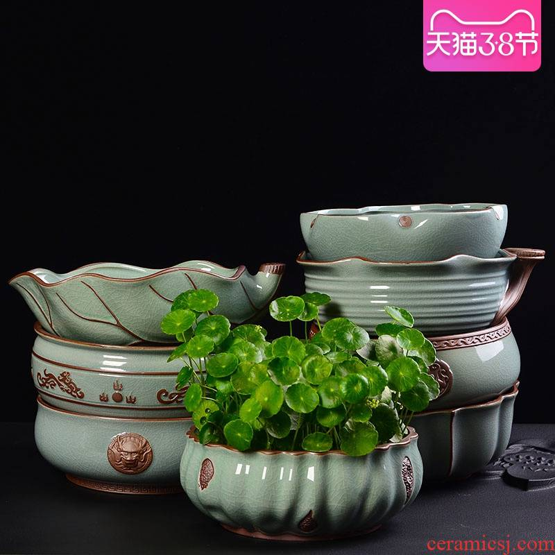 Creative elder brother up on refers to flower pot ceramic retro nonporous large hydroponic the plants potted copper grass flower pot