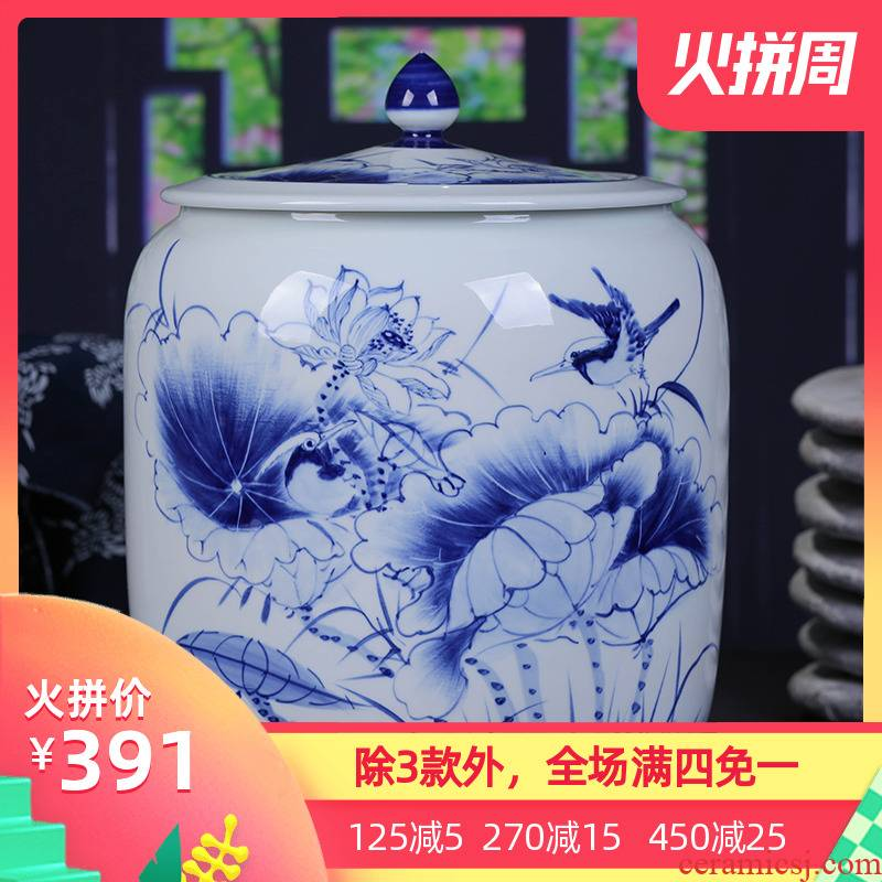 Jingdezhen ceramic hand - made caddy fixings large blue and white lotus tea cake tin puer tea cylinder ten loaves of bread