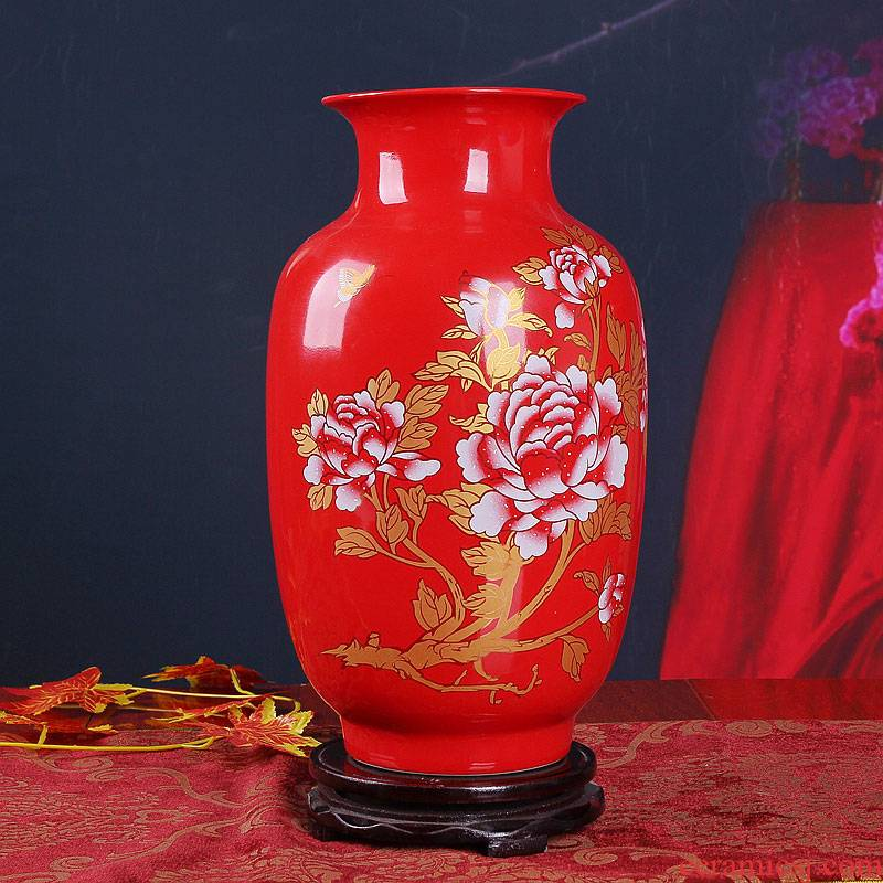 Jingdezhen ceramics China red peony idea gourd vases new home decoration decorated furnishing articles furnishing articles