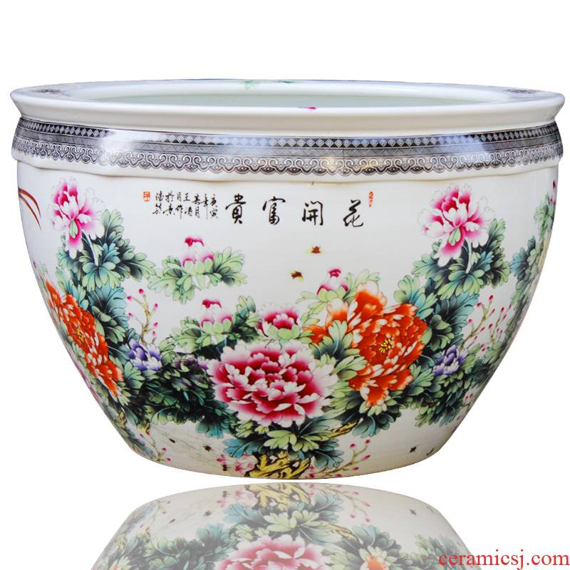 03 jingdezhen ceramic basin goldfish turtle cylinder fish tank water lily bowl lotus heavy large villa furnishing articles