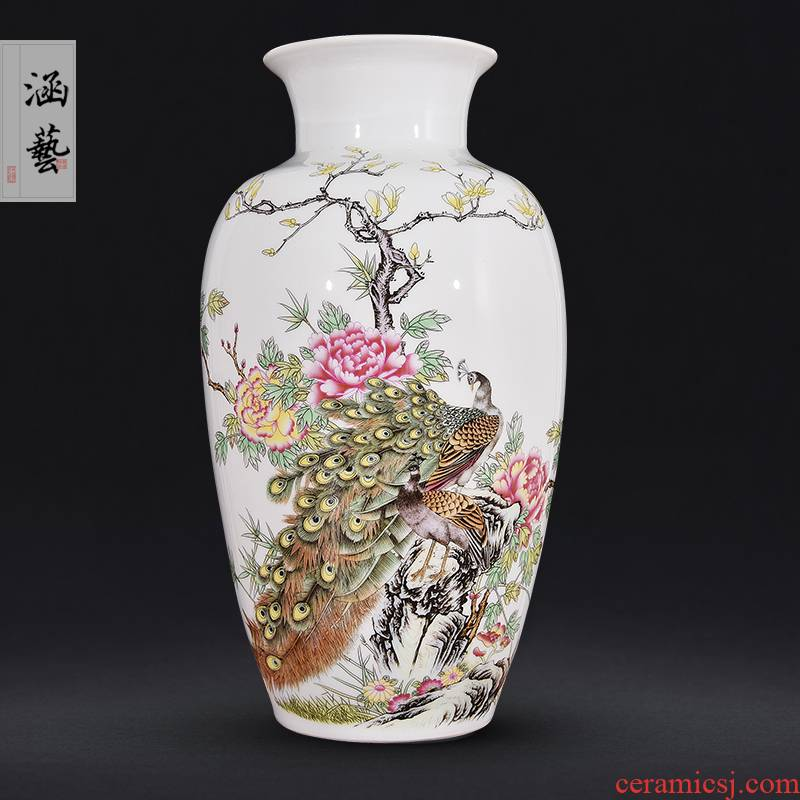 Jingdezhen ceramics powder enamel prosperous peacock vase figure new Chinese flower arrangement sitting room adornment is placed craft gift
