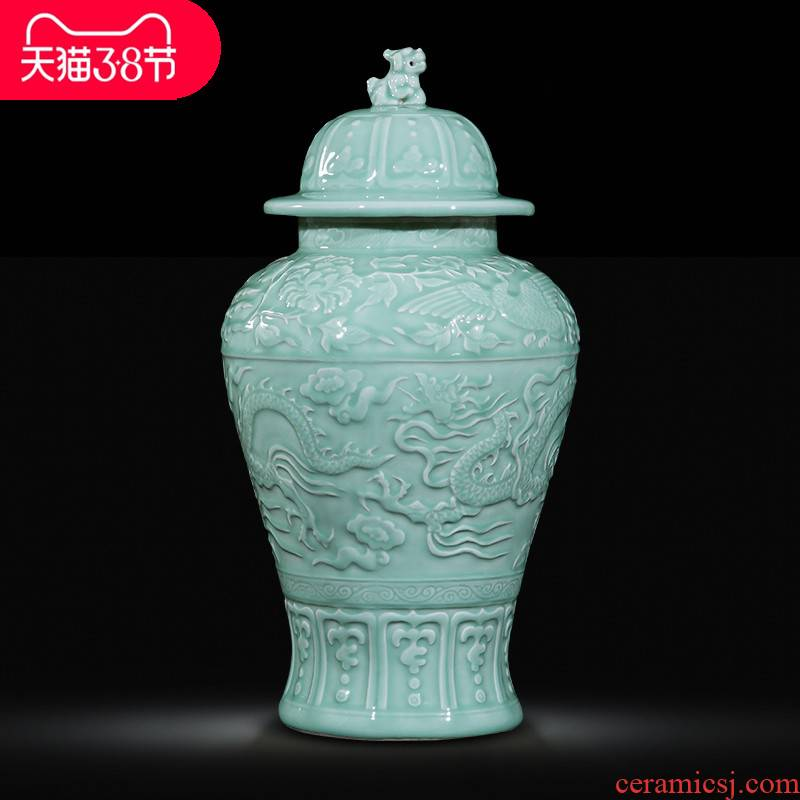 Jingdezhen ceramics by hand throwing carve shadow qdu vase wine home decoration villa hotel furnishing articles