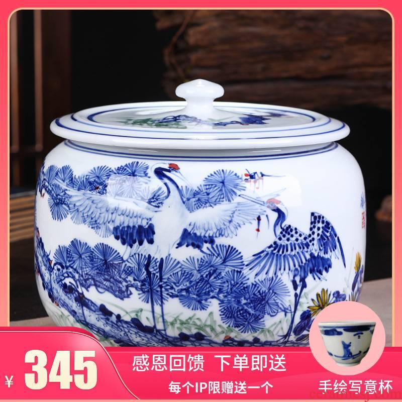 Jingdezhen ceramic tea cake tea gift box packaging household tea pot seal pot storage tank