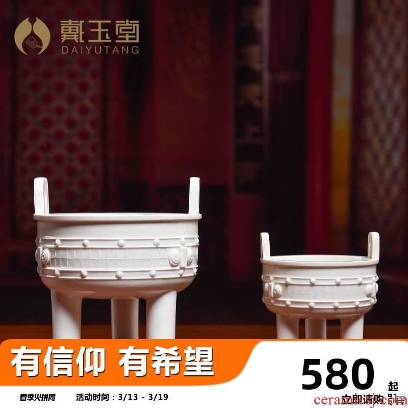 Yutang dai home interior furnishing articles for Buddha incense buner bright type ceramic three - legged tripod censer size/D41-202