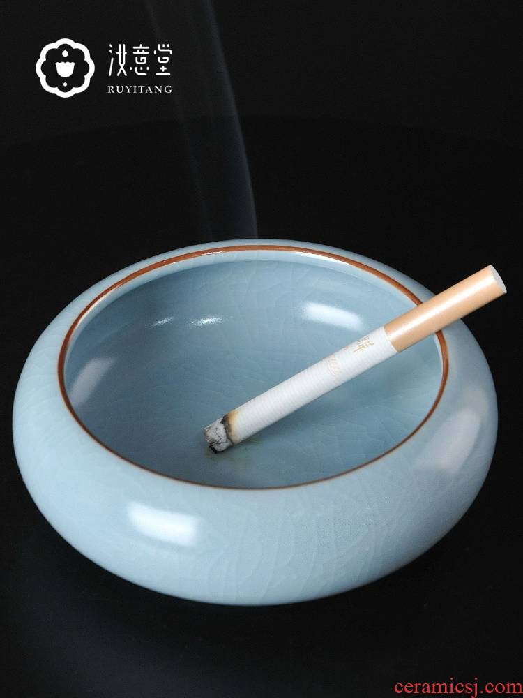 Your up porcelain Chinese contracted ashtray home sitting room tea table office furnishing articles ceramic ashtray celadon restore ancient ways