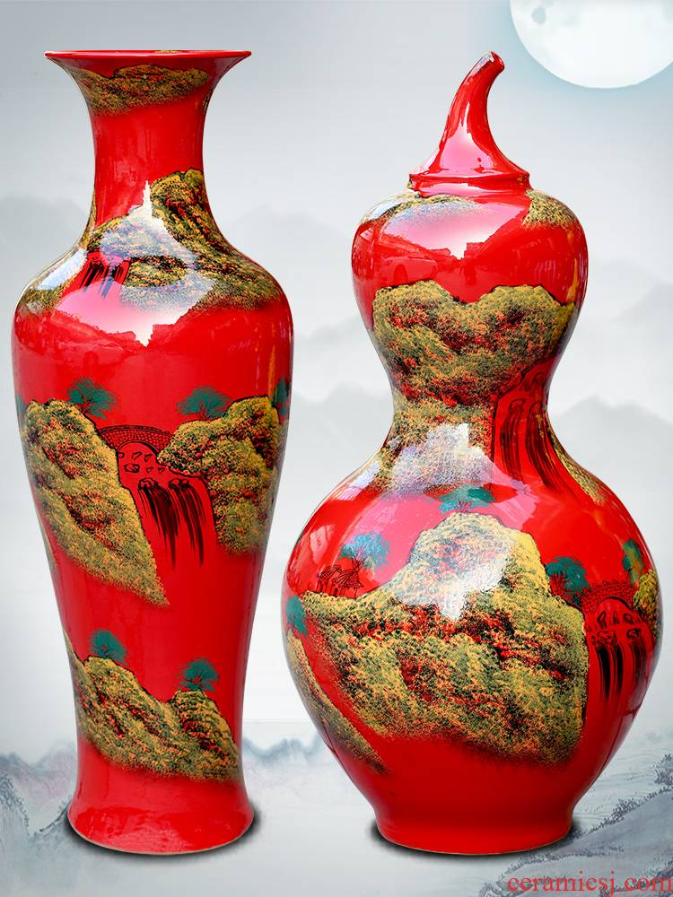 Jingdezhen ceramics high temperature hand - made China red landing big gourd vases landscape painting porcelain decorative furnishing articles