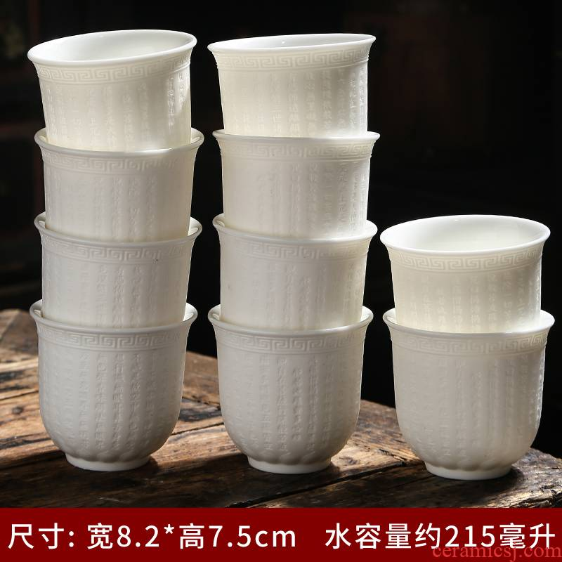 Suet white jade porcelain dehua ceramic cups undressed ore sample tea cup single CPU kung fu tea tea master cup accessories
