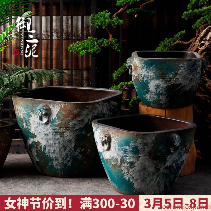 Restore ancient ways of archaize ceramic VAT yamato - e tank floor furnishing articles courtyard garden coarse pottery manual water basin of water