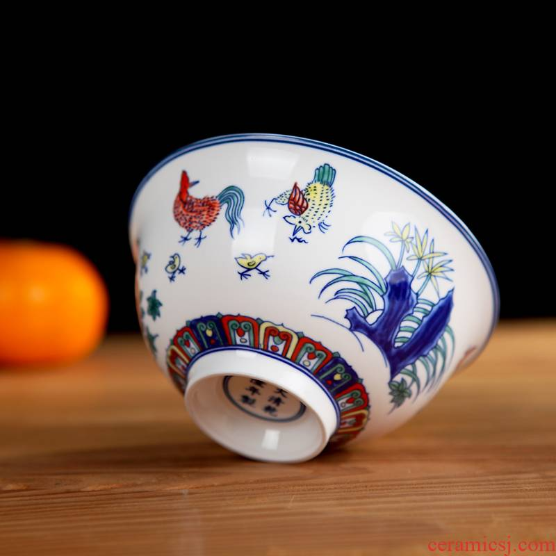Chicken cylinder cup design new bowl glair beautifully colored enamel 58 head suit ceramic dishes