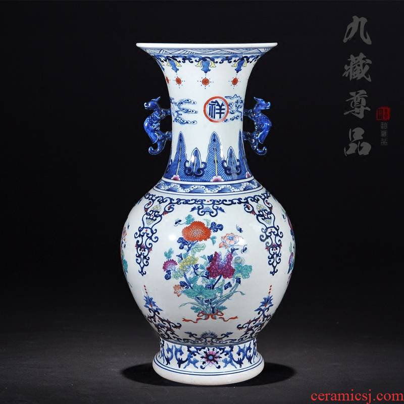 About Nine sect Buddha tasted jingdezhen blue and white color bucket ears panlong hand - made ceramics vase handicraft furnishing articles in the living room