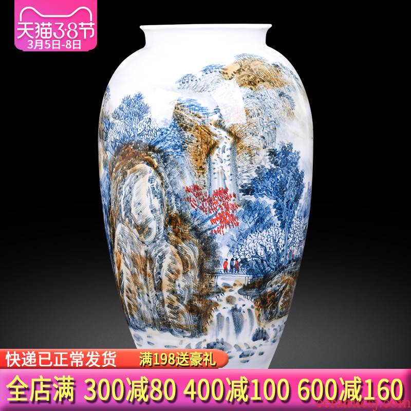 Jingdezhen ceramics master hand made blue and white porcelain vases, flower arrangement large study of new Chinese style office furnishing articles