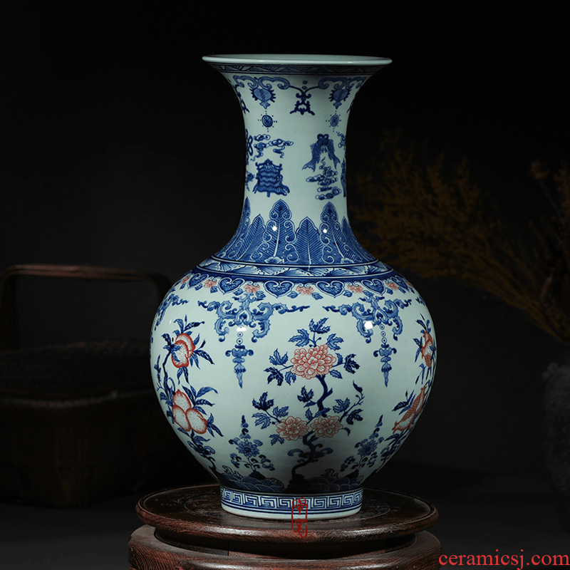 Jingdezhen ceramics antique hand - made Chinese blue and white porcelain vase sitting room porch TV ark, flower adornment furnishing articles