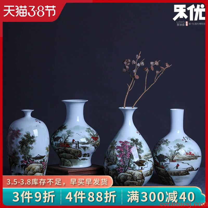 Le optimal jingdezhen hand - made color ink landscape ceramic vases, flower receptacle modern new Chinese style household crafts are sitting room