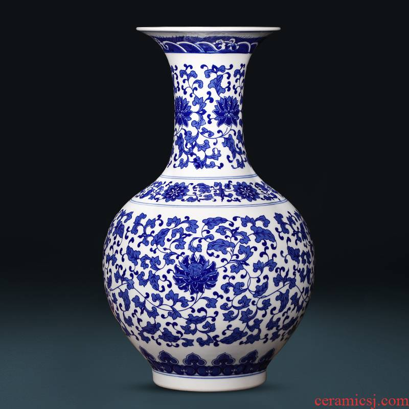 Blue and white porcelain of jingdezhen ceramics of large vases, flower arrangement of Chinese style living room TV ark of tea table decorations furnishing articles