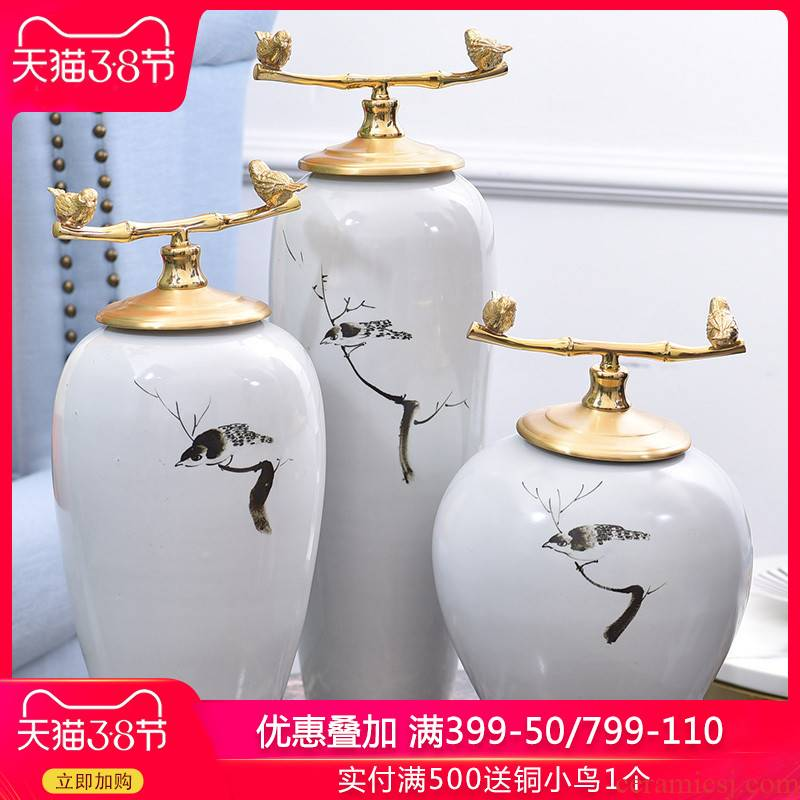 New Chinese style light key-2 luxury furnishing articles ceramic vases, flower arranging New Chinese style household living room TV cabinet soft adornment porch
