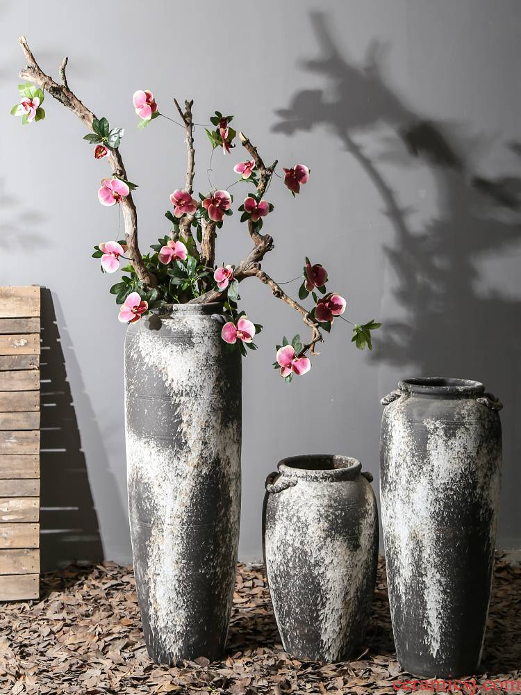 Chinese style restoring ancient ways of large ceramic vase furnishing articles pottery sitting room hotel decoration flower arranging dried flowers thick ceramic bottle