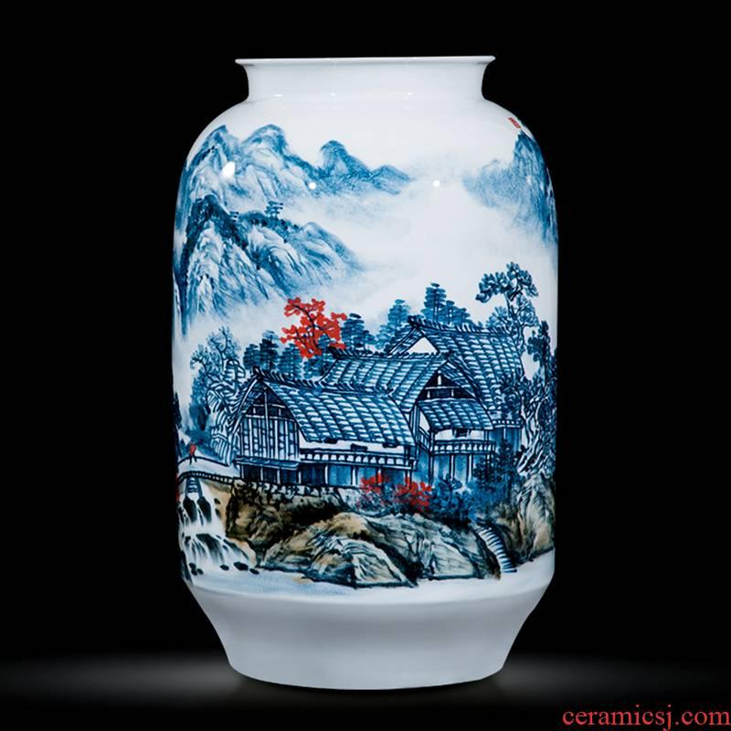 Jingdezhen ceramics celebrity hand - made the master of landscape painting landing big large vases, home furnishing articles sitting room