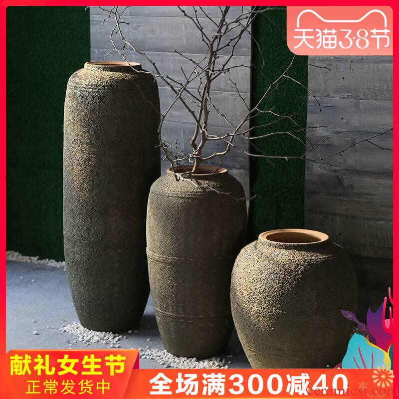Coarse pottery retro nostalgia vases, pottery decoration to the hotel club villa garden flower implement landing ceramic flower furnishing articles