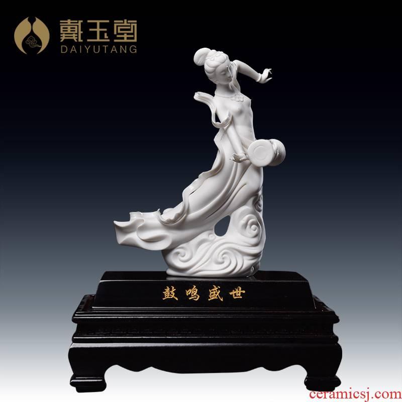 """Yutang dai ceramic furnishing articles """"the drum sound shengshi"""" home decoration craft gift Su Xianzhong works/D30-61"""