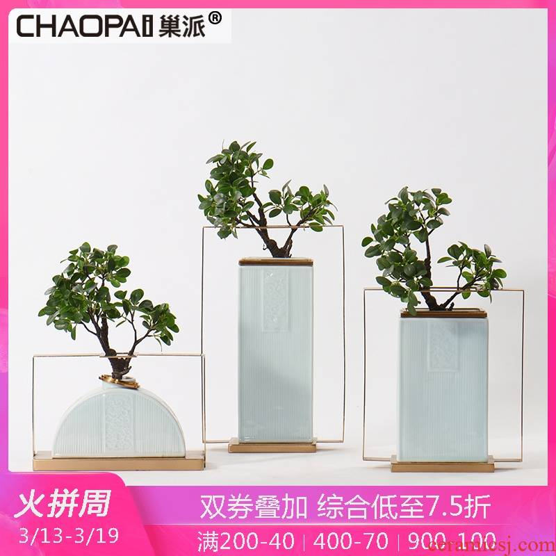 New classic ceramic flower implement electroplating process soft adornment flower vase eat edge bar face furnishing articles study the living room