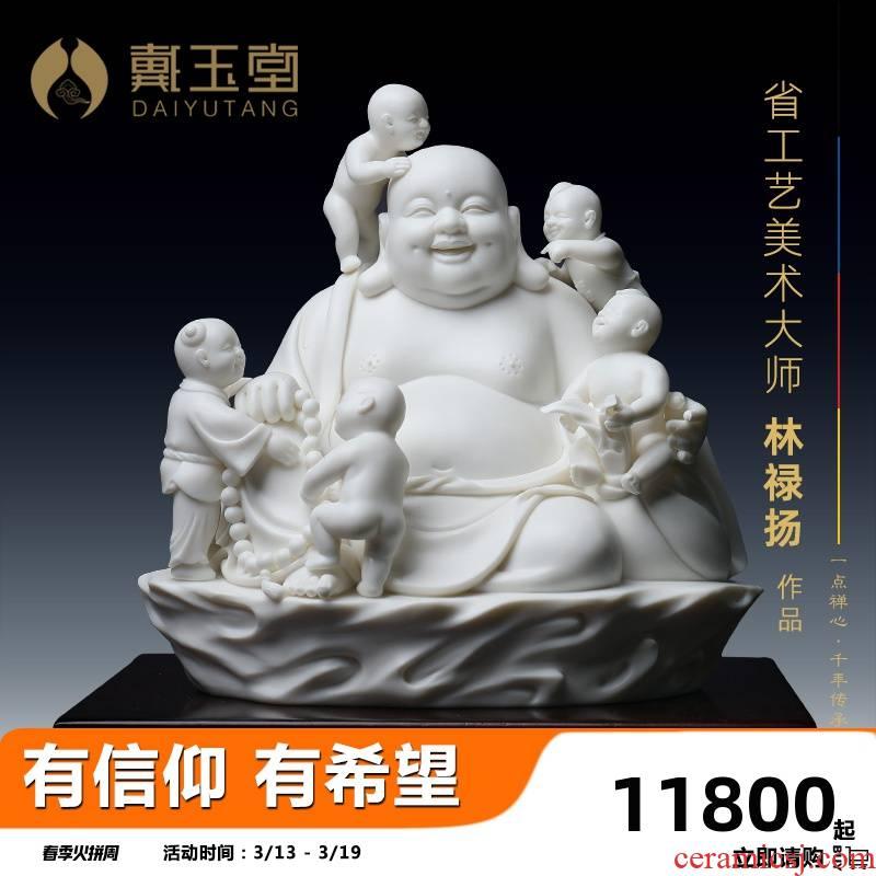 Yutang dai dehua ceramic Buddha furnishing articles at the provincial level master manually signed silver collection abital maitreya