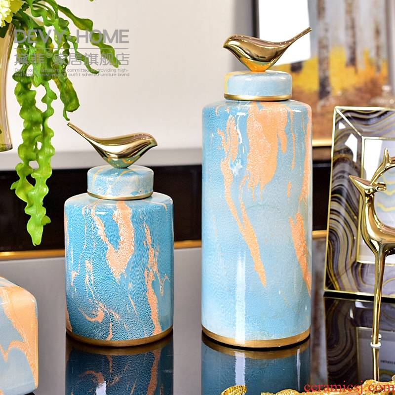 Furnishing articles between household act the role ofing is tasted example sitting room, dining - room new Chinese creative ceramic vase floral outraged identifiers tank flower arrangement