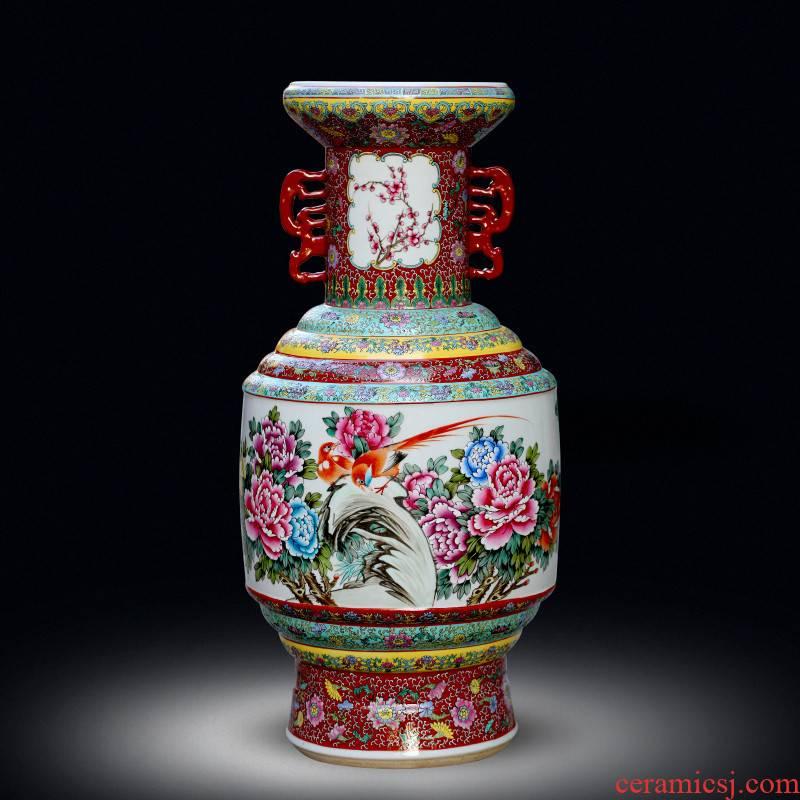 Jingdezhen ceramic vase sitting room decorate bottle furnishing articles hand - made powder enamel ears retro porch hotel gift