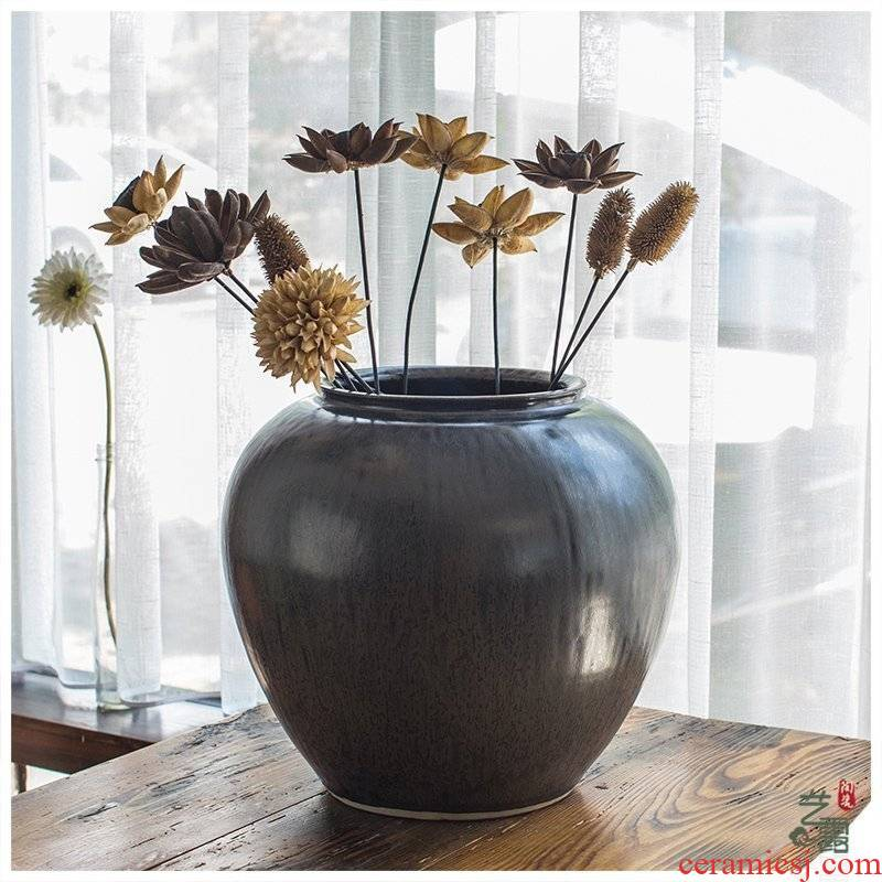 Ceramic vase landing coarse pottery urn variable thrust vase of new Chinese style restoring ancient ways European home sitting room hotel furnishing articles