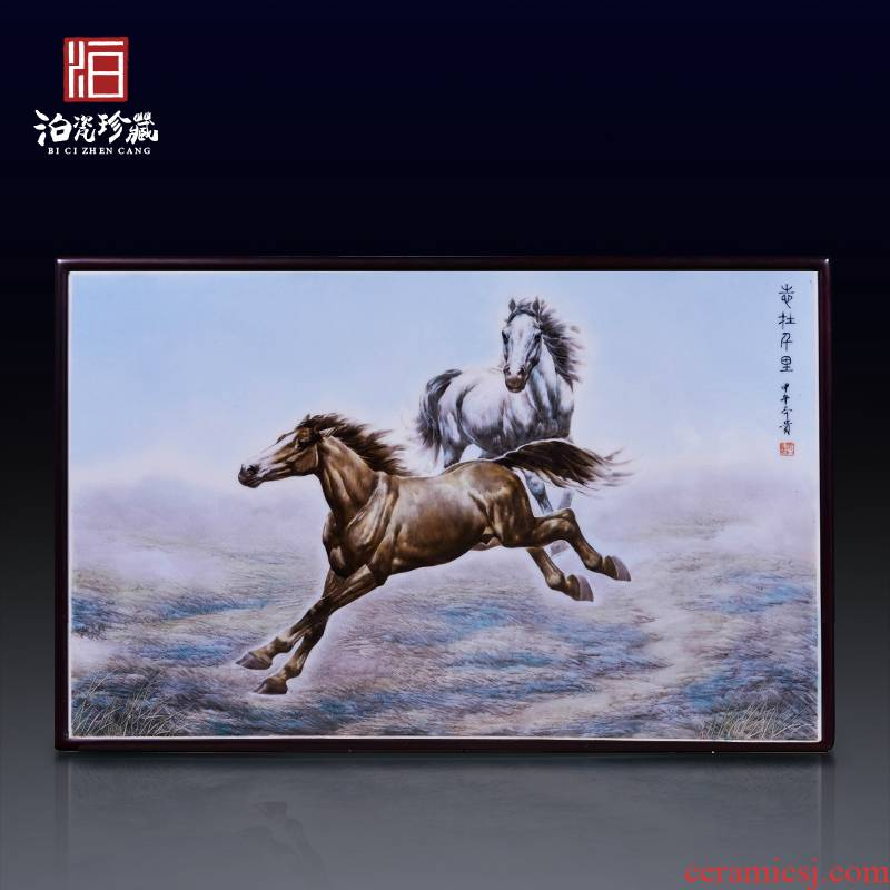 Jingdezhen ceramic hand - made swift horse wall decoration as the sitting room porch hang a picture to study background wall decoration