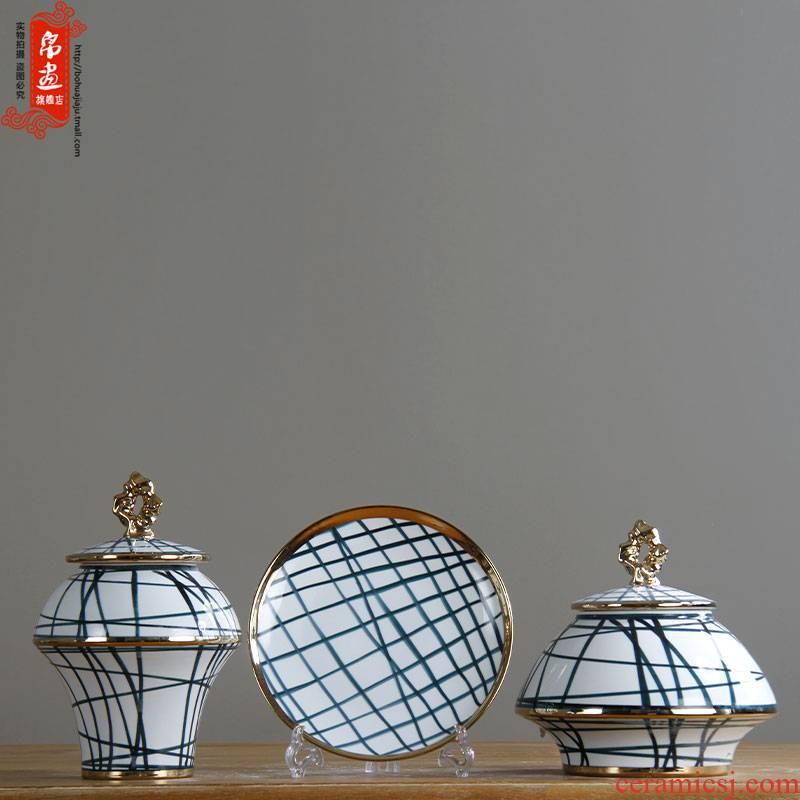 Furnishing articles of jingdezhen ceramic vases, POTS light European - style key-2 luxury gold - plated three - piece biennial reel household villa decoration restoring ancient ways