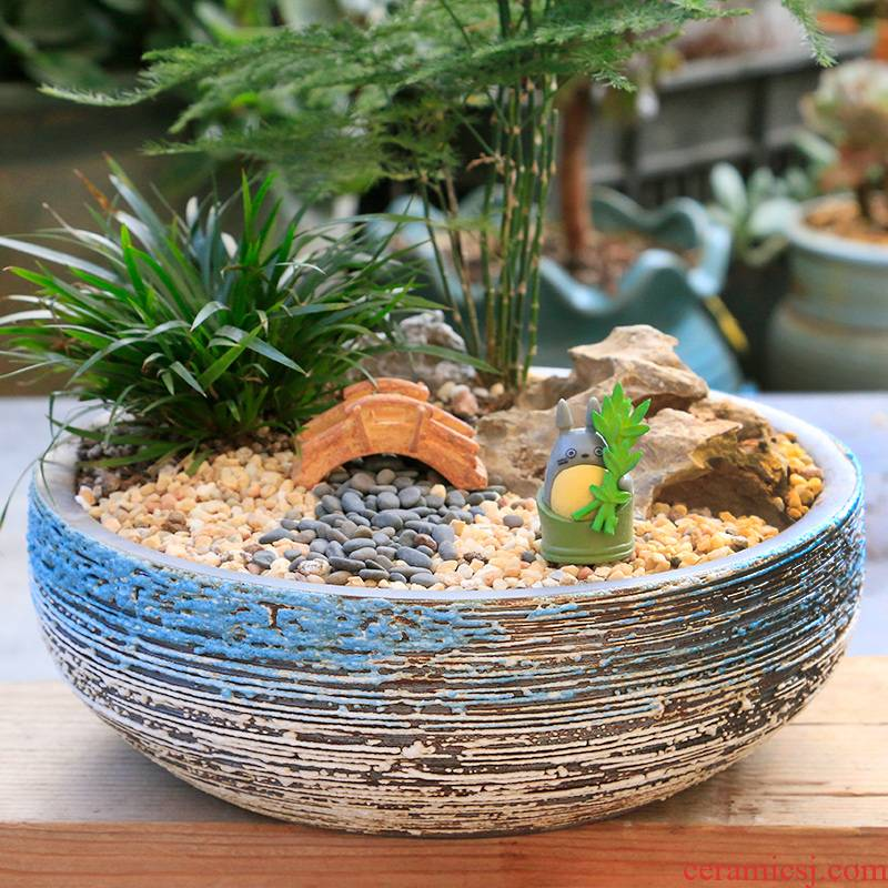 Large diameter platter Large flower - pot ceramic purple pottery breathable creative move special offer a clearance much meat big flower pot
