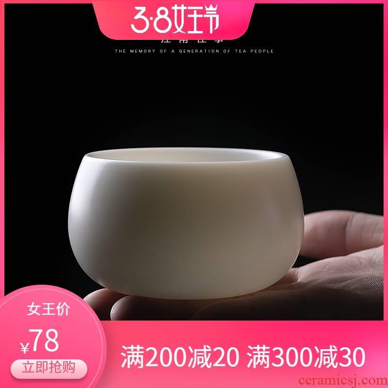 Jiangnan past suet jade white porcelain cups, ceramic kung fu tea sample tea cup big meditation master cup of tea