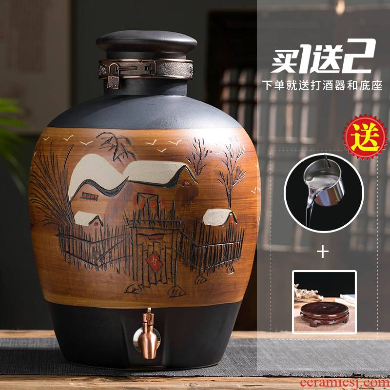 Special wine jars of jingdezhen ceramic jar household seal bottle 10 jins 50 pounds with leading mercifully wine